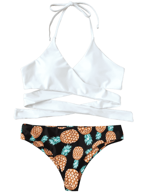 buy Halter Pineapple Print Wrap Bikini - WHITE L Mobile