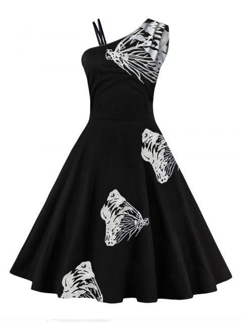 Un hombro de mariposa bordado vestido de llamarada - Blanco S Mobile