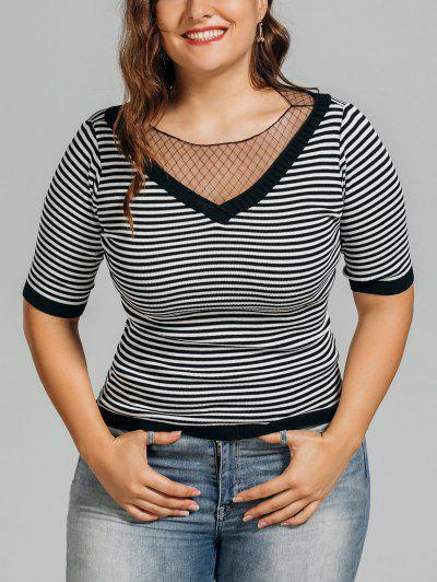 Knitting Plus Size Voile Panel Top - Stripe 2xl