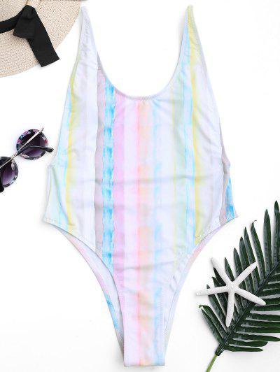 Low Back Tie Dye High Cut Swimsuit - M
