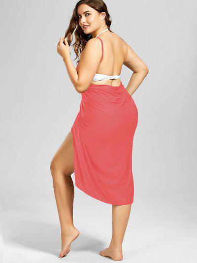 d71343bda48 ... Plus Size Beach Cover-up Wrap Dress - Watermelon Red 3xl
