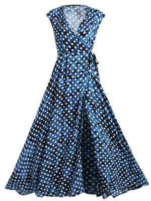 Wrap Polka Dot Maxi Cubrir El Vestido - Azul L