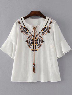 Geometric Embroidered Tassels Blouse - White S
