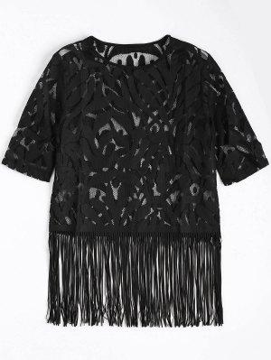 Fringe Sheer Lace Top - Negro L