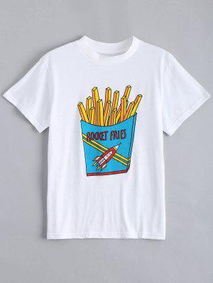 Camiseta Linda Del Gráfico De Las Fritadas Del Algodón - Blanco