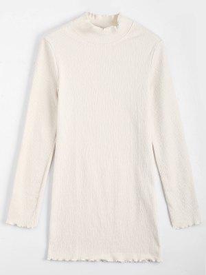 Knitted Long Sleeve Ruffles Mini Dress - Off-white S