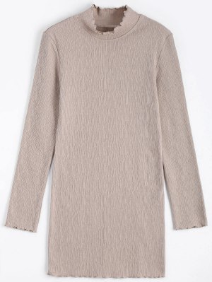 Mini Robe à Manches Longues Tricotées - Abricot M