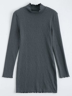 Mini Robe à Manches Longues Tricotées - Gris Foncé S