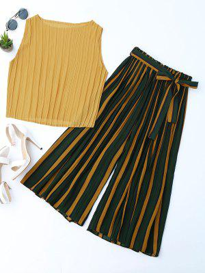 Pleated Top With Color Block Striped Gaucho Pants - Yellow