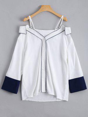 Abotoar A Camisola Cami Do Ombro Frio - Branco 2xl