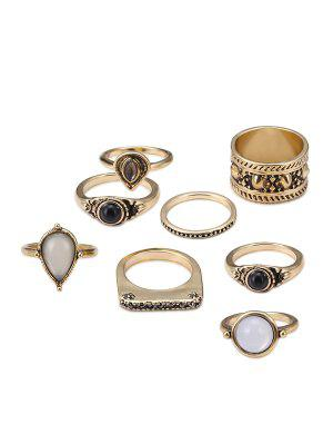 Faux Gem Teardrop Gypsy Ring Set - Golden