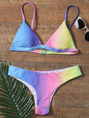 Colorful Spaghetti Strap Ombre Skimpy Bikini - M