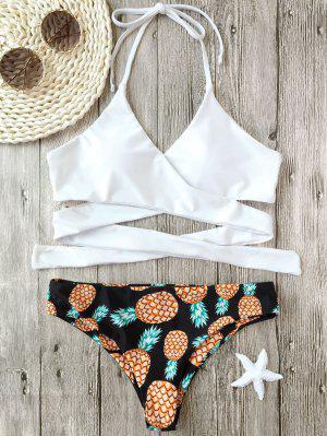 Halter Pineapple Print Wrap Bikini - White - White Xl