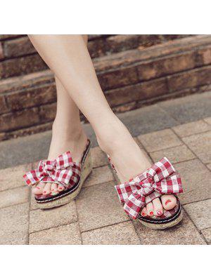 Bow Wedge Heel Plaid Slippers