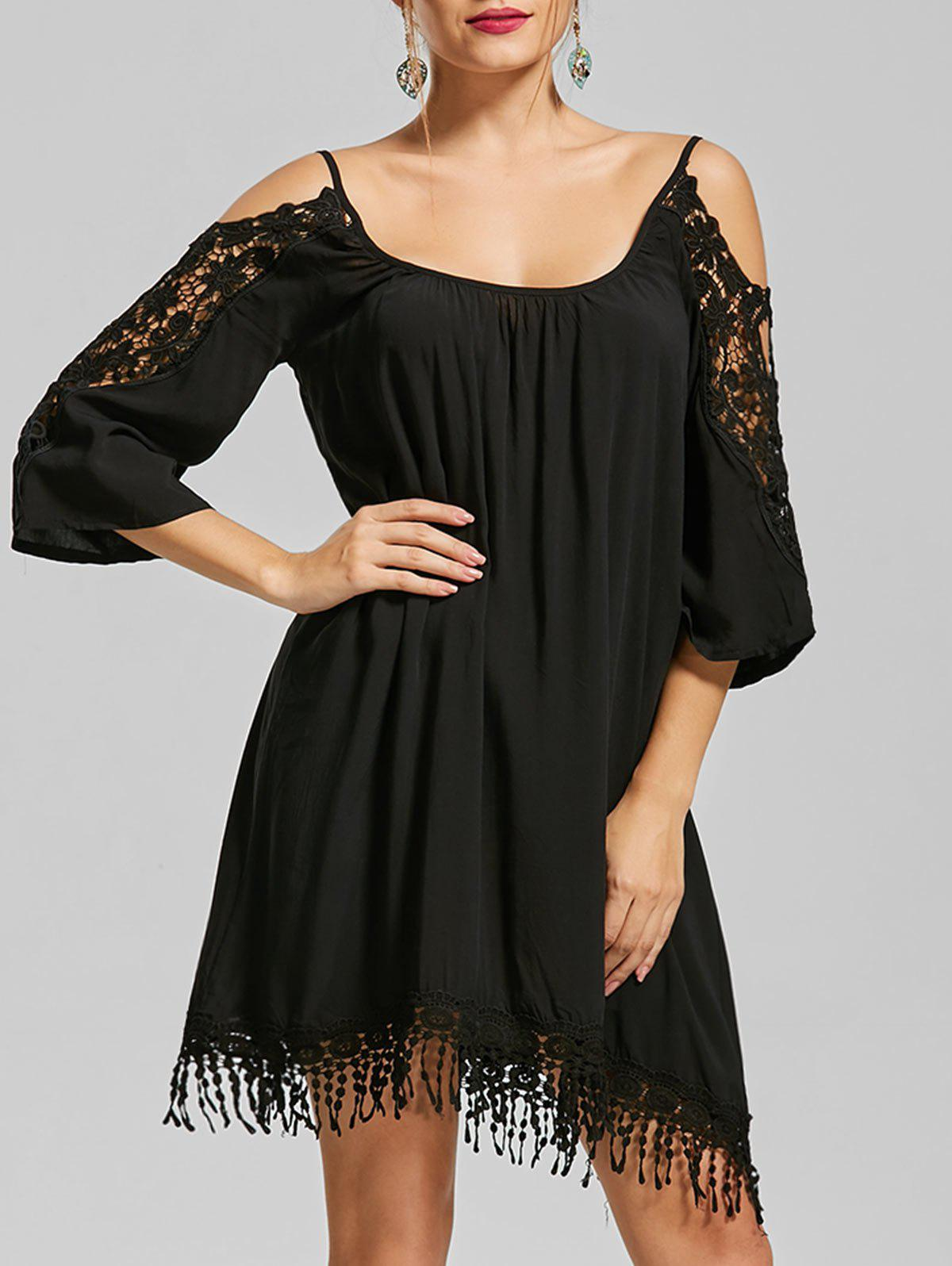 Cold Shoulder Lace Trim Fringe Mini Dress 215937509