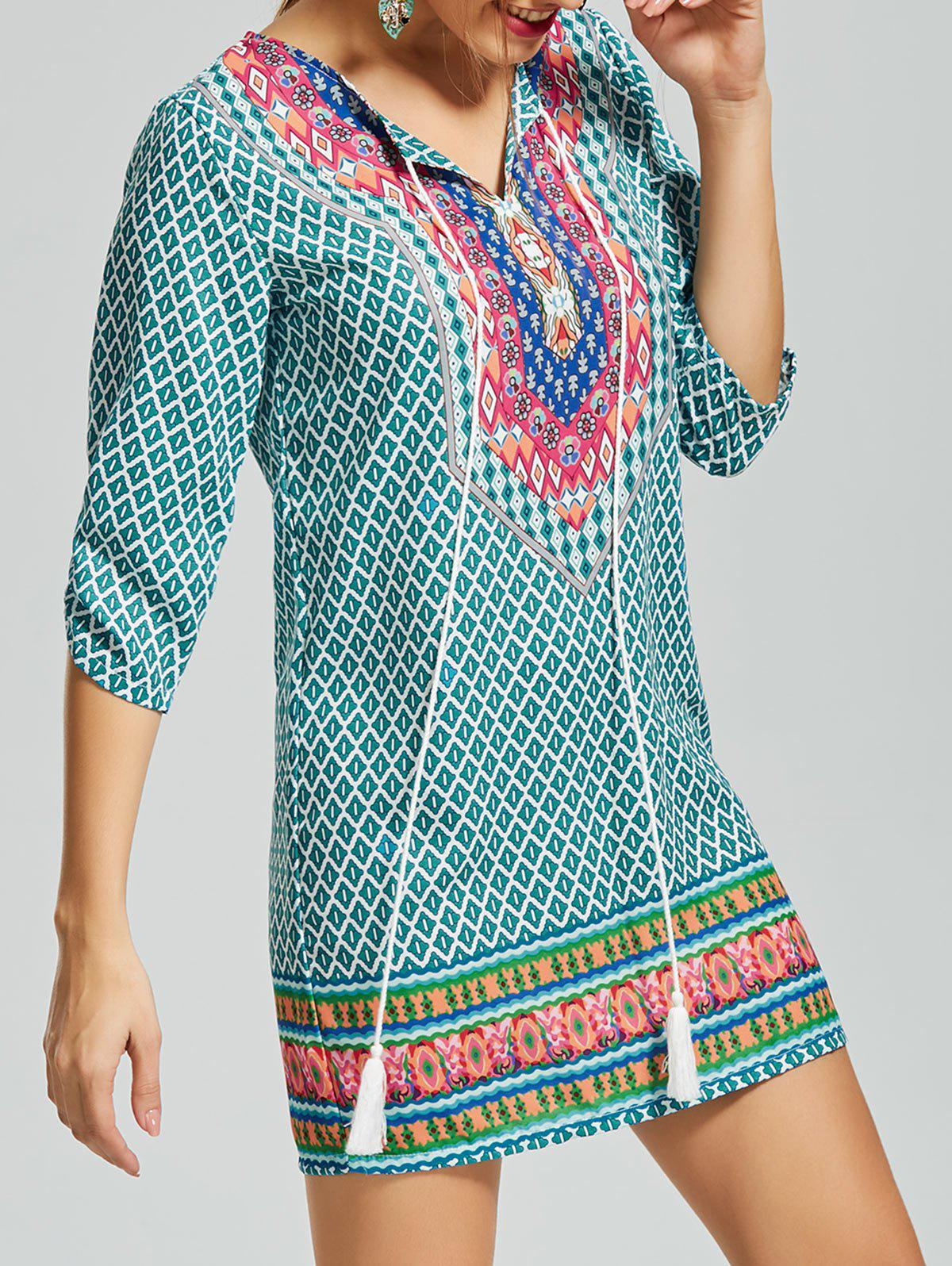 Printed Tassel Self tie Shift Dress 216258201