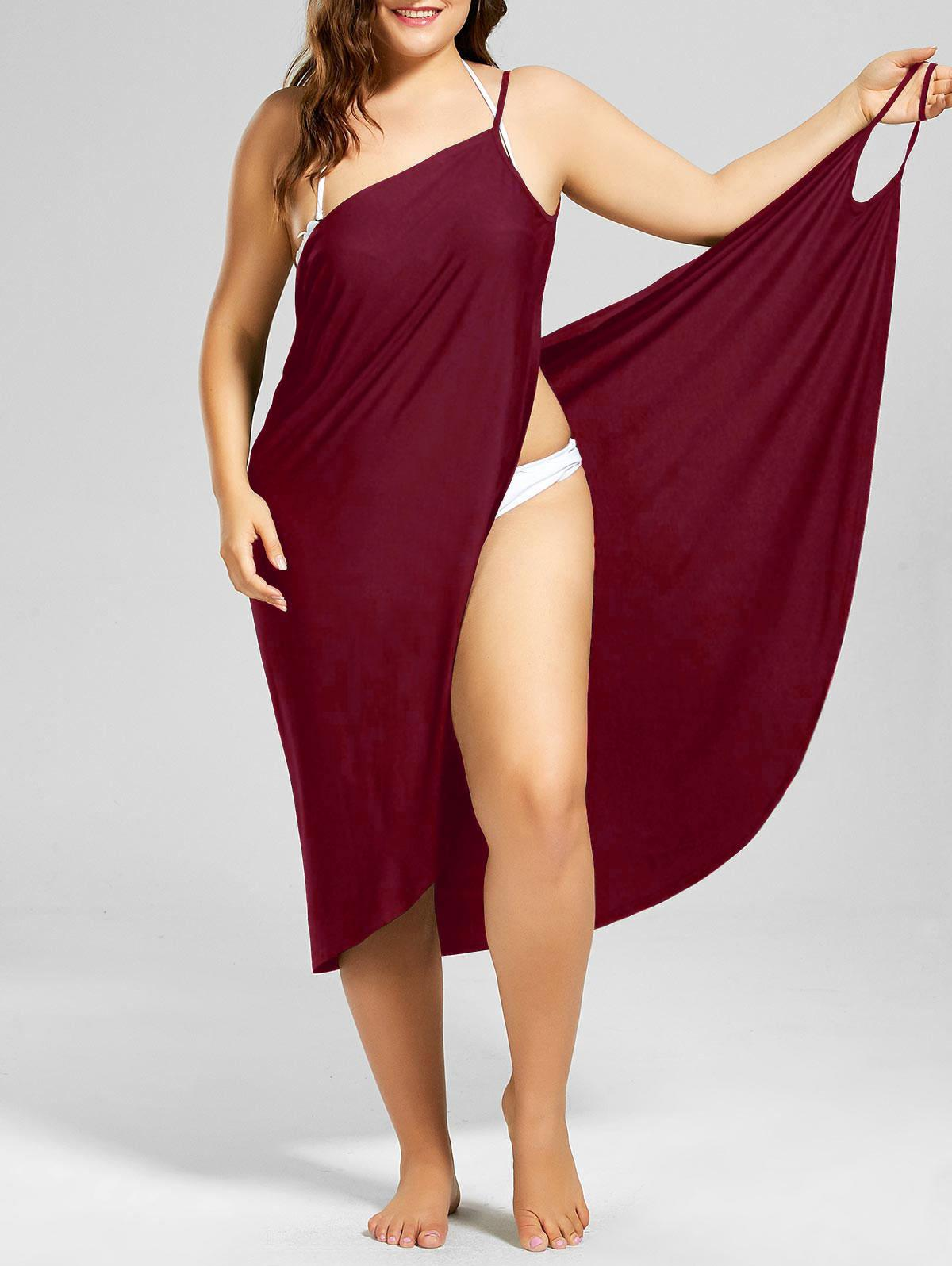 Plus Size Beach Cover-up Wrap Dress - WINE RED 5XL