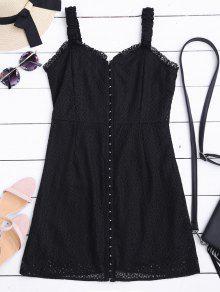 فستان الرقبة على شكل القلب مصغر الدانتيل - أسود L