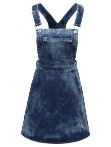 Tie Dyed Denim Pinafore Dress - Denim Blue L