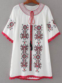 Crochet Panel Embroidered Tunic Dress - White S