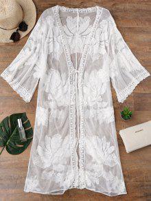 Kimono Mesh Self Tie Longline Cover Up - White