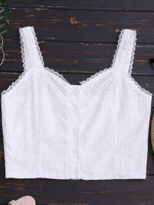 Buttoned Fitted Lace Crop Top - White S