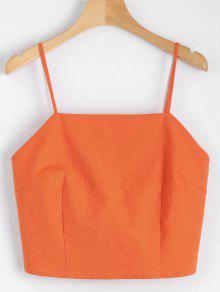 Cut Out Bowknot Cropped Tank Top - Orangepink M