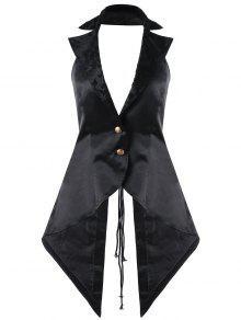 معطف الصدرية مفتوحة الظهر رباط ثقب الرقبة - أسود L
