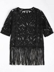 Fringe Sheer Lace Top - Black L