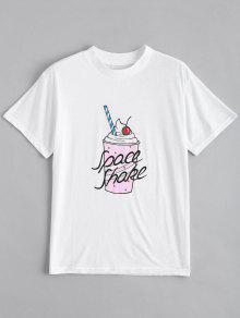 Cute Cotton Beverage Graphic T-Shirt - White