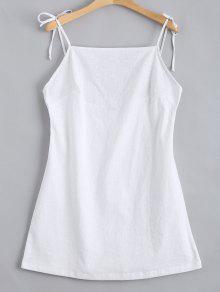 Mini Vestido Sin Espalda Con Tirantes De Nudo - Blanco M