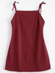 Mini Vestido Sin Espalda Con Tirantes De Nudo - Rojo M