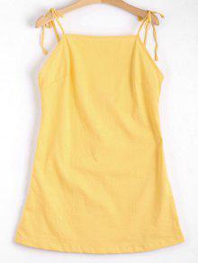 Mini Vestido Sin Espalda Con Tirantes De Nudo - Amarillo M