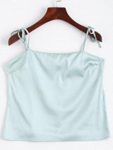 Cami Tied Straps Satin Tank Top - Light Blue S