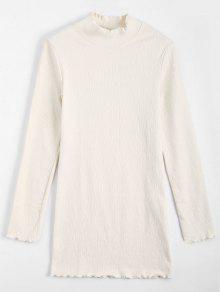 Knitted Long Sleeve Ruffles Mini Dress - Off-white S
