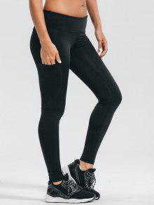 Stretchy Pockets Active Leggings - Black M