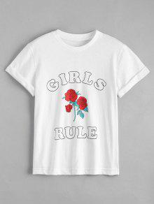 Cotton Rose Letter T-Shirt - White M