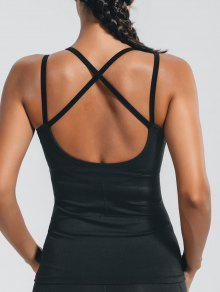 Padded Cross Back Sporty Top - Black M