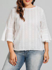 Plus Size Crochet Panel Sheer Blouse - White 3xl