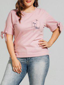 Plus Size Embroidered High Low Top - Pink Xl