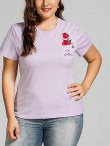 Plus Size Rose Embroidered T-Shirt With Pocket - Light Purple Xl