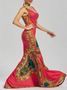 فستان مطبوعة الطابق طول ميرميد - أحمر 2xl