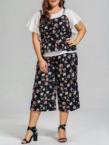 Ruffles Blusa De Gasa Y Pantalones Florales Capri Con Volantes Cami Tank Top - Floral 2xl
