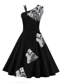 فستان مطرز بالفراشة بكتف واحد توهج - أبيض L