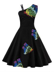 فستان مطرز بالفراشة بكتف واحد توهج - أزرق L