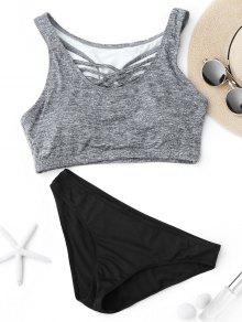 Criss Cross Racerback Crop Top Bikini Suit - Black And Grey L