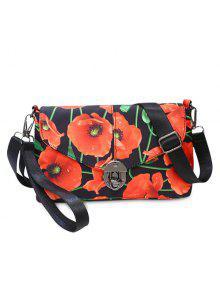 الأزهار طباعة النايلون حقيبة كروسبودي - أحمر