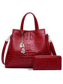 Crocodile Embossed Handbag And Wallet - Red