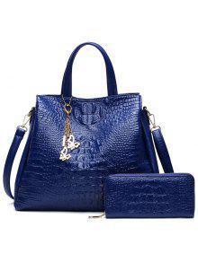Crocodile Embossed Handbag And Wallet - Blue