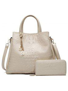 Crocodile Embossed Handbag And Wallet - White